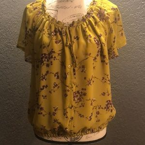 Floral L Mustard Yellow Button up drawstring Top